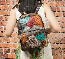 New Women Genuine Cow Leather Backpack Handbag Purse Travel Bag Multicolor Small