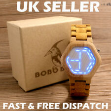Bobo Bird E03 Digital Natural Wood Watch Mini LED Night Vision Unique Design