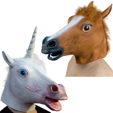 2 PACK Fancy Dress Halloween Horse and Unicorn Head Mask Latex Party Costume