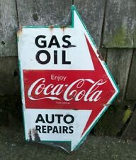 Old Vintage Arrow Style Coca Cola Gas Oil Auto Repairs Tin Metal Sign Mancave