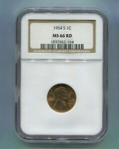1954-S US Lincoln Wheat Cent - NGC MS66 RD