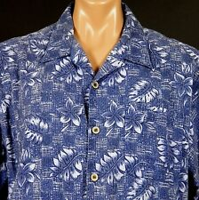 OP Hawaiian Shirt Mens L Blue Monstera Plumeria Cotton/Rayon Blend