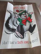 Large Fold out card Hallmark 1970s Unused new Vtg Stock April Fools skunk jokes