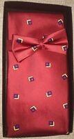 Men's Silk Formal Tuxedo Bow Tie, Cummerbund Set No Show Tie Strap Adjuster