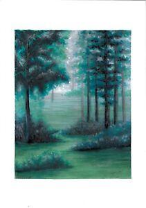original drawing 14,5 x 21 cm 50PIr art samovar Mixed Media landscape forest