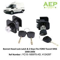 Bonnet Hood Lock Latcch & 2 Keys Fits FORD Transit MK6 2000-2006  4124287