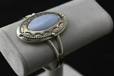 """Relios Carolyn Pollack Sterling Silver Blue Lace Agate Cuff Bracelet 6.5"""""""