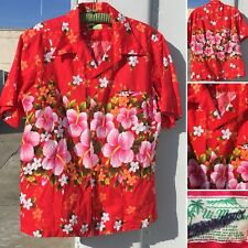 Vintage Ui-Maikai Hawaiian Shirt Red With Floral L/Xl See Pics For Measurements