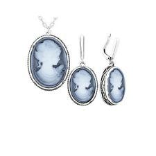 Parure Bijoux Camée Bleu Argent 925/1000