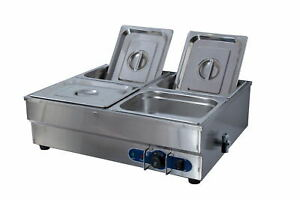 NEW 4 X 1/2' PAN STAINLESS STEEL NEW ELECTIC BAIN MARIE TRAYS+ FOOD POLY LID WTY