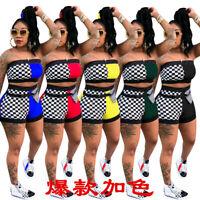 Women's Sexy Checks Patchwork Bodycon Club Jumpsuit Casual Short Pants Set 2pcs