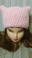 Crochet Chunky hat kitty pussy cat ears woman hand made Pink rose chenille new