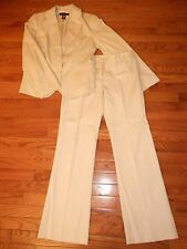 New York and Company Cream and Gray Pin Stripe Suit Pants 6/Jacket 12