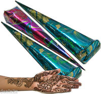 Quantity 3 - Three  freshly made  Bridal Henna Mehendi Temporary Tattoo Cones