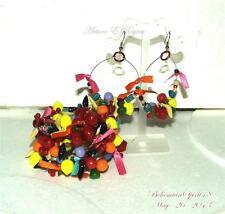 Vintage Style Artisan Lucite FRUIT SALAD Handcrafted COIL Bracelet earrings Set
