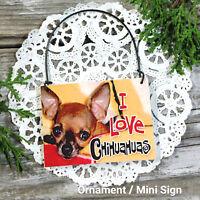 DecoWord Mini Sign Wood Ornament CHIHUAHUA DOG DECOR Gift Everyday Decor New USA