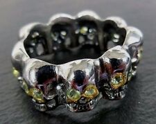 Peridot Totenkopf Ring 925 Sterlingsilber rhodiniert Handarbeit Größe 60 R565