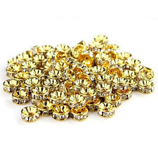100pcs Crystal Rhinestone Rondelle Spacer Beads Round 8mm*2mm Gold Color New