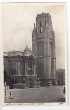 Bristol; Art Gallery & University Tower RP PPC, Unposted, c 1930's