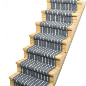 Dolls House Slate Grey Striped Stair Carpet Runner Self Adhesive 1:12 Flooring
