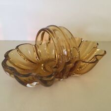 Amber Glass Vintage Basket Beautiful and Heavy Great Condition