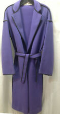 ILIE WACS Couture Wool Melton Coat & Belt M Periwinkle Blue B 38 Whip-stitching