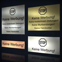 Echtes Edelstahl Briefkasten-Schild selbstklebend Keine Werbung Keine Zeitungen M3