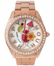 Betsey Johnson  HAPPY HOUR Women's Rose Gold-Tone Stainless Steel Bracelet Watch