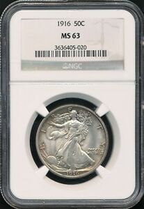 1916 Walking Liberty Half Dollar NGC MS 63 *Original Coin, First Year Of Issue!*