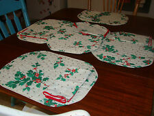 Holly Design Place Mats and Matching Napkins - Used - Six