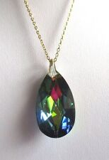pendentif chaîne couleur or bijou vintage goutte taillé boréalis changeante 3405