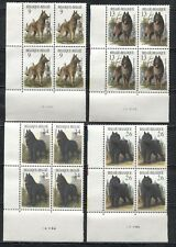 DOGS ON BELGIUM 1986 Scott 1243-1246, BLOCK OF 4 SETS, MNH