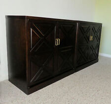 1026-601: 2-Piece 1960s Mahogany Dry Bar Cabinet Attr to Directional / Johnson