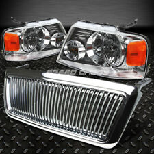 FOR 04-08 FORD F150 CHROME FRONT GRILL COVER+HEAD LIGHTS AMBER REFLECTOR LENS