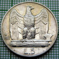 ITALY VITTORIO EMANUELE III 1927 5 LIRE, SILVER BETTER GRADE