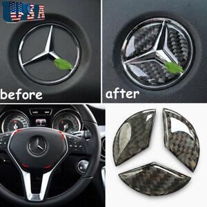 44mm Carbon Fiber Steering Wheel Center Logo Sticker For Mercedes Benz A E AMG
