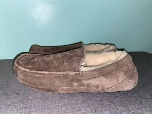 Men Ugg 5775 Ascot Espresso Brown Suede Sheepskin Slipper Shoe 10 Moccasin
