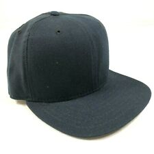 Vintage New Era Pro Model Blank Fitted Hat Cap Navy Blue Size 6 3/4 Wool USA New