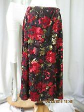 CAROLYN STRAUSS SZ L Polyester/Nylon Velour Black & Red Green Flowers Skirt
