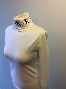 CALVIN KLEIN White Long Sleeve Cotton Turtleneck top jumper sweater size S