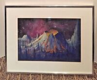 Original Art Gouache Painting Outer Space VolcanoLand C.H. Haymes Framed w Glass