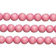 Wood Round Beads Light Pink 10mm 16 Inch Strand