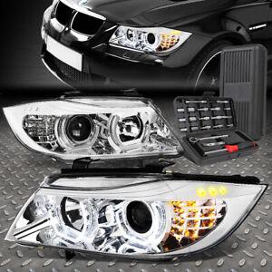 FOR 09-12 BMW E90 3-SERIES 4-DR 3D U-HALO LED HEADLIGHT LAMPS+TOOL SET CHROME