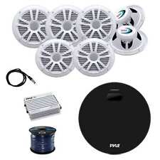 Pyle Amplifier Receiver w/Boss Speakers, Pyle Amp, Antenna & Enrock Speaker Wire