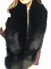 Black Fox Fur Boa 70' Inch. (180cm) Saga Fox Furs Stole Collar