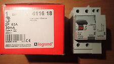 Legrand 411618 - Interrupteur Différentiel 63A 30Ma 2P - Type A - Vis/vis