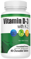 Vitamin D-3 (2,000 IU) + K2 | All Natural Immune Support - 90 Chewable Tablets