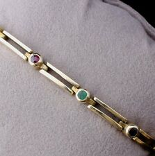 14ct 14k Vintage Gold Chain Bracelet. Green Emerald, Red Ruby and Blue Sapphire