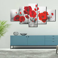 5PCS Red Poppy Rose Flower Canvas Printed Wall Painting Picture Home Wall Decor