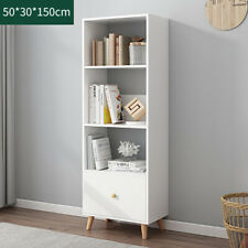 4 Tier 150cm Bookshelf Tall Unit Display Bookcase Book Shelf Storage White Door